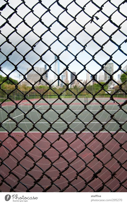 cage posture Sports Fitness Sports Training Tennis Tennis court Chicago USA Town Skyline High-rise Exceptional Fence Grating Captured Colour photo