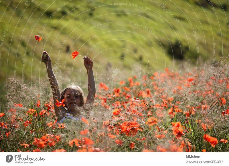 Human being Child Nature Vacation & Travel Summer Girl Joy Flower Feminine Playing Freedom Happy Jump Garden Infancy Field