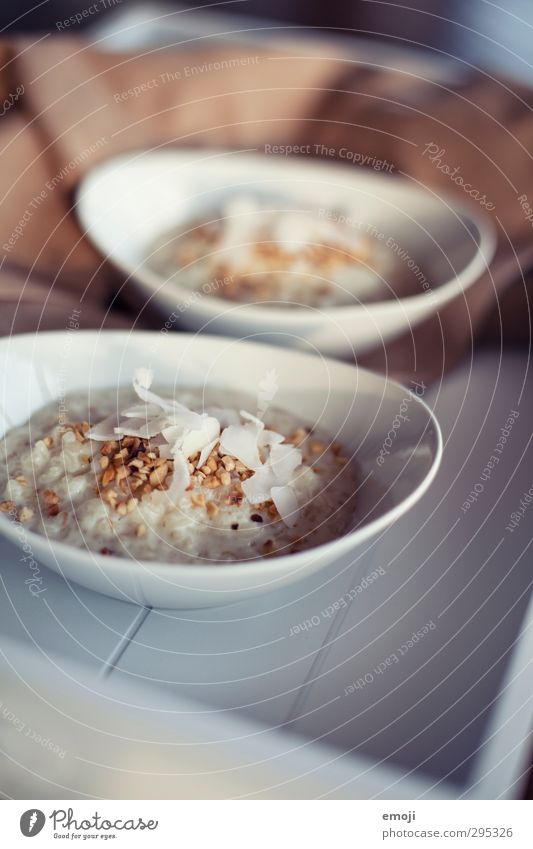 Rice pudding with coconut flakes Dairy Products Dessert Nutrition Breakfast Organic produce Vegetarian diet Bowl Delicious White Colour photo Interior shot