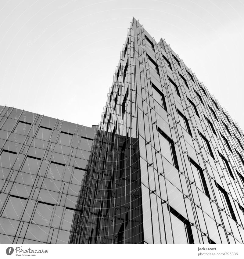 Glass façade self-reflecting Glas facade Sharp-edged Modern Cliche Gloomy Quality Corner Boundary Black & white photo Abstract Structures and shapes Shadow