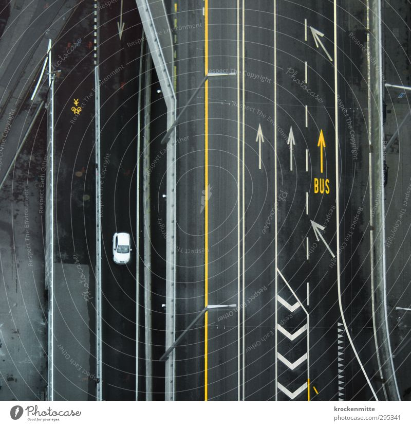 City Loneliness Yellow Street Lanes & trails Gray Car Line Transport Signs and labeling Bridge Driving Asphalt Arrow Traffic infrastructure