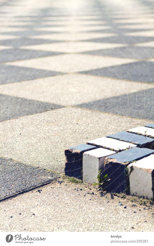 cornerstone Deserted Places Esthetic Sharp-edged Long Black White Town Lanes & trails Pattern Paving tiles Corner Stumbling block Colour photo Exterior shot