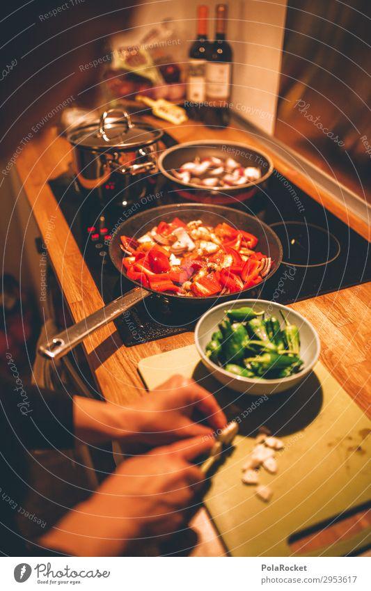 #A# fresh food Art Esthetic Eating Cooking Frying Pepper Chopping board Garlic Mediterranean recipe Colour photo Subdued colour Interior shot Studio shot