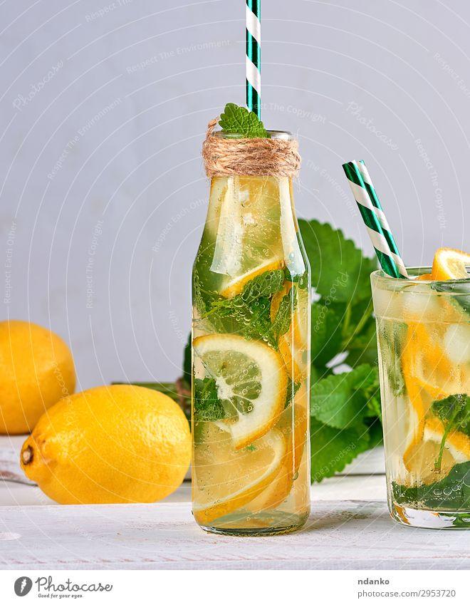 summer refreshing drink lemonade Fruit Herbs and spices Vegetarian diet Beverage Cold drink Lemonade Juice Alcoholic drinks Bottle Glass Summer Table Leaf