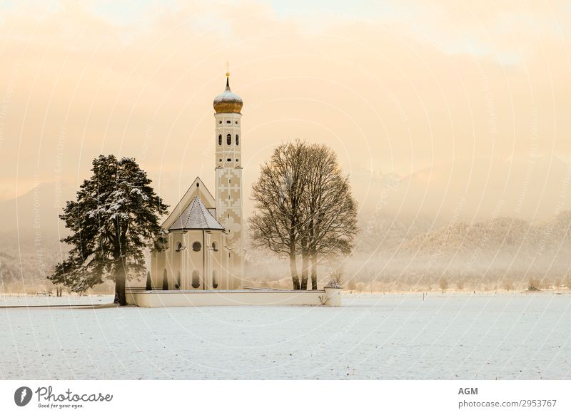 Church Sankt Coloman in Bavaria near Schwangau Harmonious Calm Meditation Vacation & Travel Tourism Trip Sightseeing Winter Snow Mountain Architecture Nature