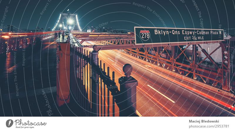 Brooklyn Bridge in New York City, USA. Vacation & Travel Trip City trip Transport Street Highway sign City highway NYC instagram effect vintage I-278 cityscape