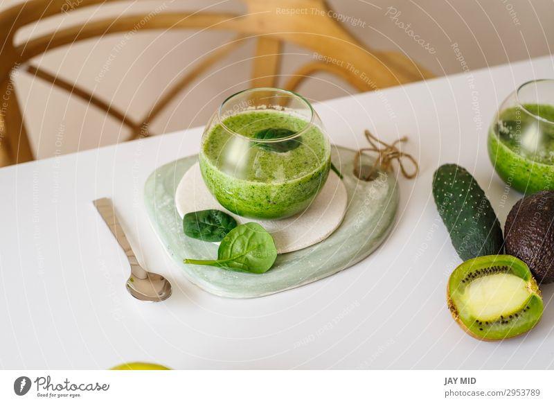 Healthy green smoothie. Superfood Food Vegetable Fruit Apple Nutrition Eating Breakfast Lunch Organic produce Vegetarian diet Beverage Cold drink Juice Table