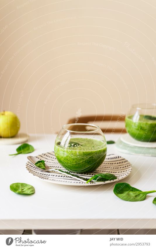 Healthy green smoothie. Superfood Food Vegetable Fruit Apple Nutrition Organic produce Vegetarian diet Diet Slow food Beverage Cold drink Juice Table Fresh