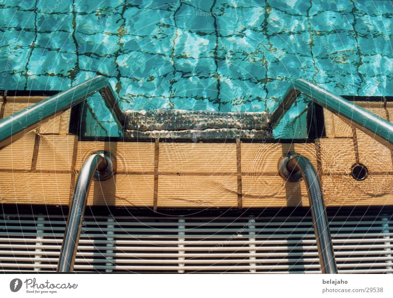 swimming pool staircase Swimming pool Open-air swimming pool Summer Refrigeration Leisure and hobbies Water Stairs Tile