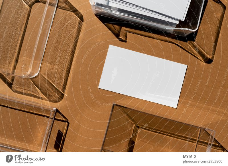 Blank business card and geometric shadows Style Design Work and employment Workplace Office Trade Business Company Paper Modern Brown Identity Advertising