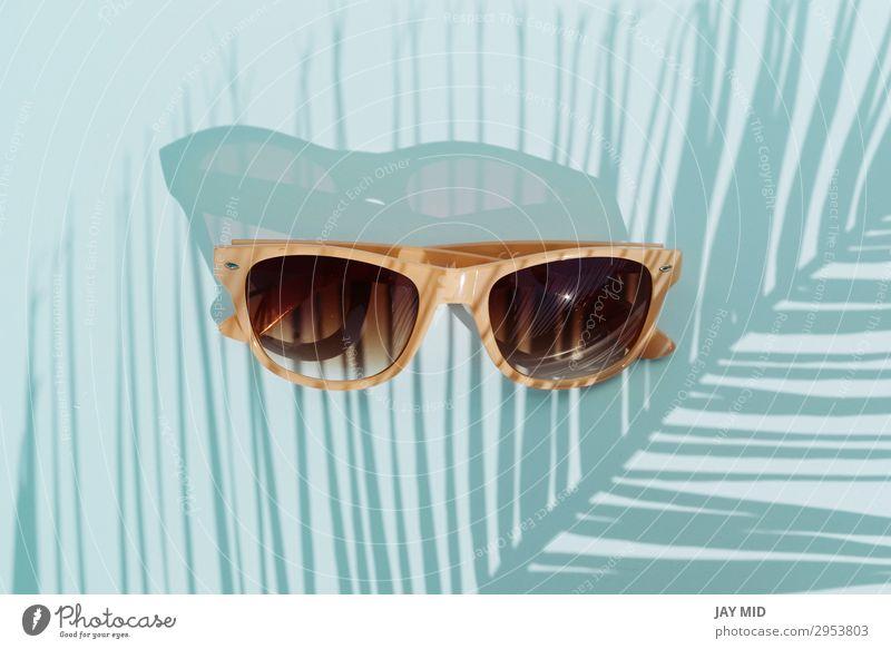 Top view sunglasses, travel concept object Style Design Vacation & Travel Summer Sun Beach Fashion Accessory Sunglasses Plastic Hot Bright Modern Retro Blue