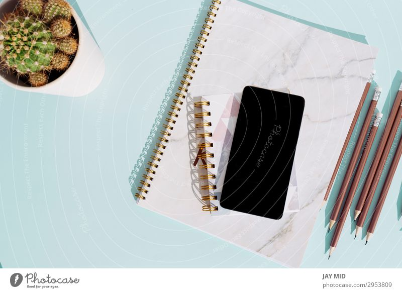 workspace desk with notebook and smartphone Desk Table Work and employment Workplace Office Business Telephone Cellphone PDA Cactus Stationery Paper Pen Modern