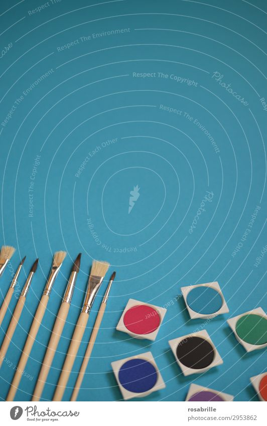 Brushes and watercolours neatly lined up on a turquoise background with free space above | colour combination Paintbrush Painting (action, artwork) Watercolours