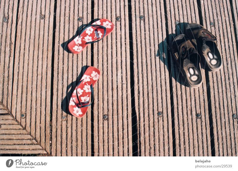 Human being Red Summer Black Relaxation Wood Warmth Friendship Brown Together Footwear Leisure and hobbies Masculine In pairs Clothing Footbridge