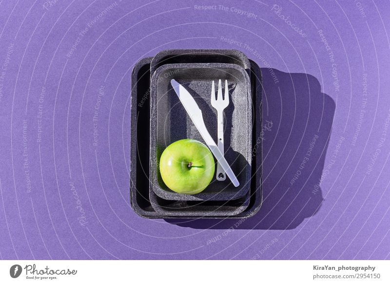 Top view of an empty plastic tray with green apple on purple Lifestyle Environment Natural Copy Space Creativity Shopping Clean Symbols and metaphors Plastic