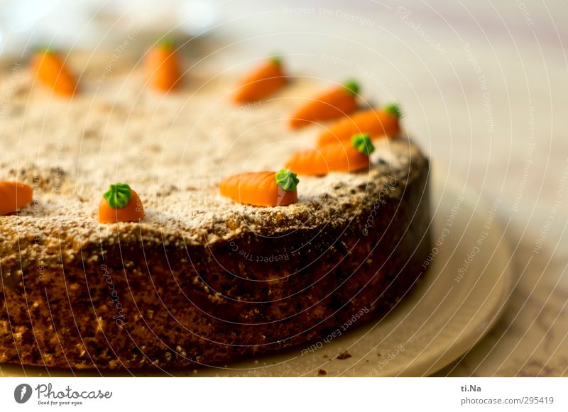 Rüblitorte to the celebration Cake Candy Gateau Carrot Confectioner`s sugar Marzipan To have a coffee Vegetarian diet Cake plate Feasts & Celebrations Birthday