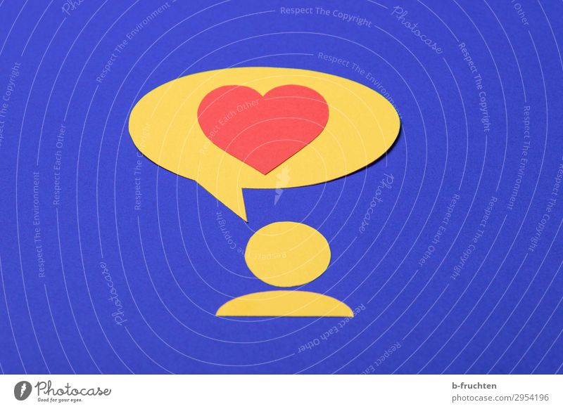 I love you! Success To talk Team 1 Human being Paper Sign Heart Love Happiness Blue Yellow Red Pictogram Speech bubble Communicate Infatuation Loyalty
