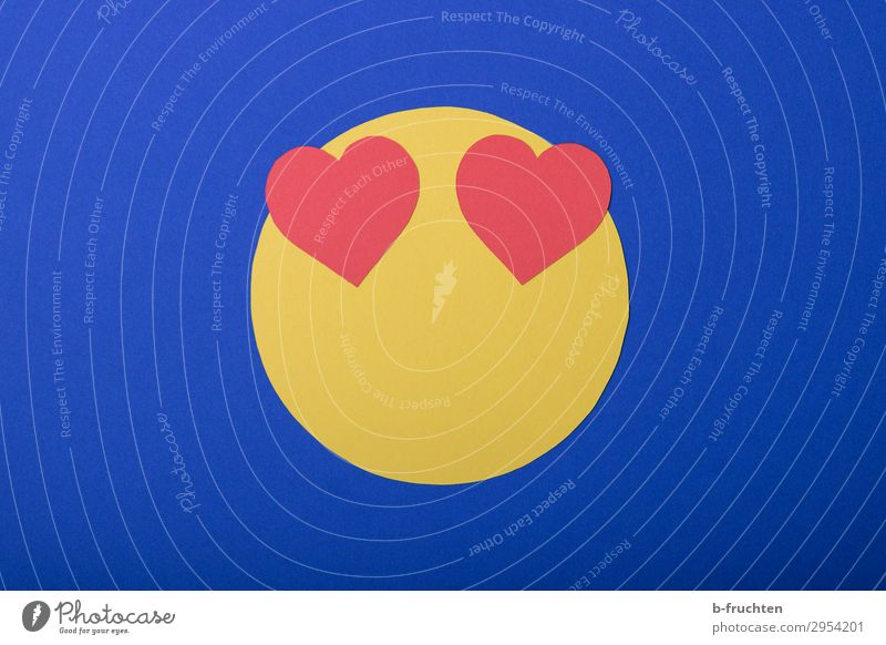 Emoji - I love it Economy Business To talk Face Paper Decoration Sign Utilize Love Looking Free Friendliness Happiness Happy Blue Yellow Red Joy Contentment