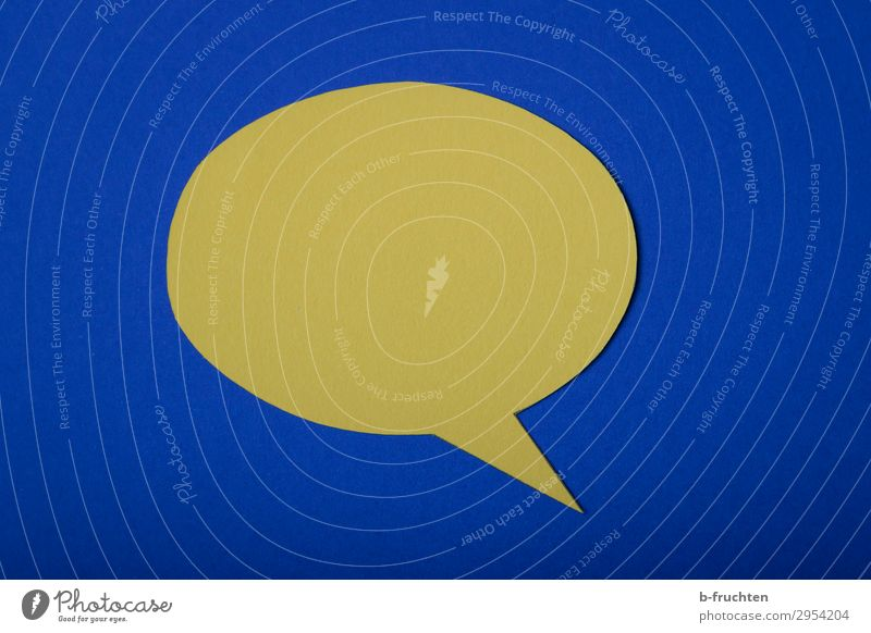 BLABLABLA Workplace Business Meeting To talk Team Paper Sign Blue Yellow Empty Speech bubble Communicate To be silent Think Colour photo Studio shot Close-up