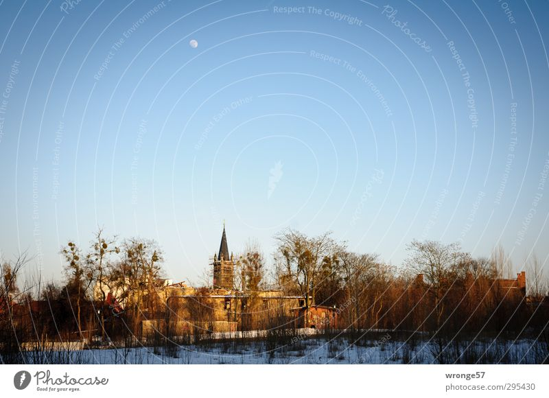 A piece of home Magdeburg Germany Saxony-Anhalt Europe Town Outskirts Deserted House (Residential Structure) Church Building Church spire Blue Quarter Sky