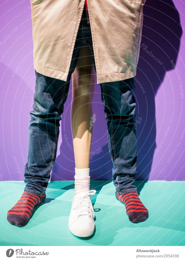 tripod Legs Three-legged Stockings Pants Striped socks Sneakers Man Masculine Symbols and metaphors Excessive Exaggerate Size Large Penis Potency overestimation