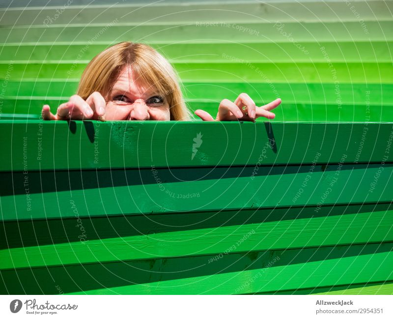 Young woman looks carefully over a wooden fence Head Fence Wooden fence Border Spy Looking Observe Caution Green look out look over Hide Hiding place Safety