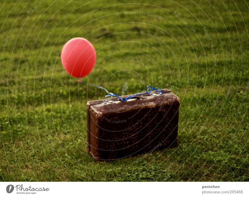 Old suitcase with red balloon on a meadow. Travel, airfreight, freedom Vacation & Travel Garden Decoration Mail Aviation Nature Suitcase Balloon String Kitsch