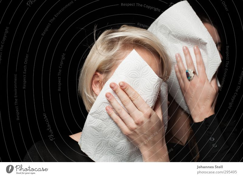 Wipe your mouth, get up, keep fighting! Dessert Nutrition Restaurant Hair and hairstyles Face Hand 2 Human being Ring Brunette Blonde Long-haired Napkin Rag