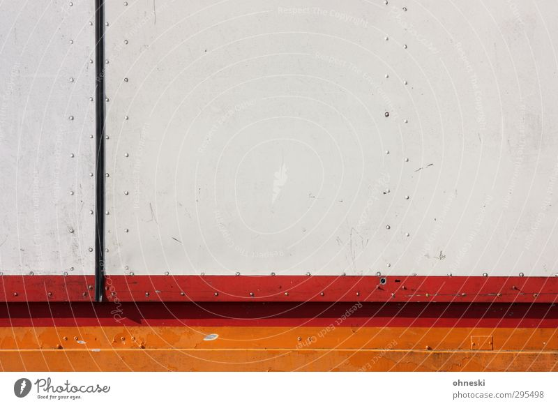 unostentatious Design Truck Trailer Rivet Line Stripe Orange Red Colour photo Exterior shot Abstract Pattern Structures and shapes Copy Space right