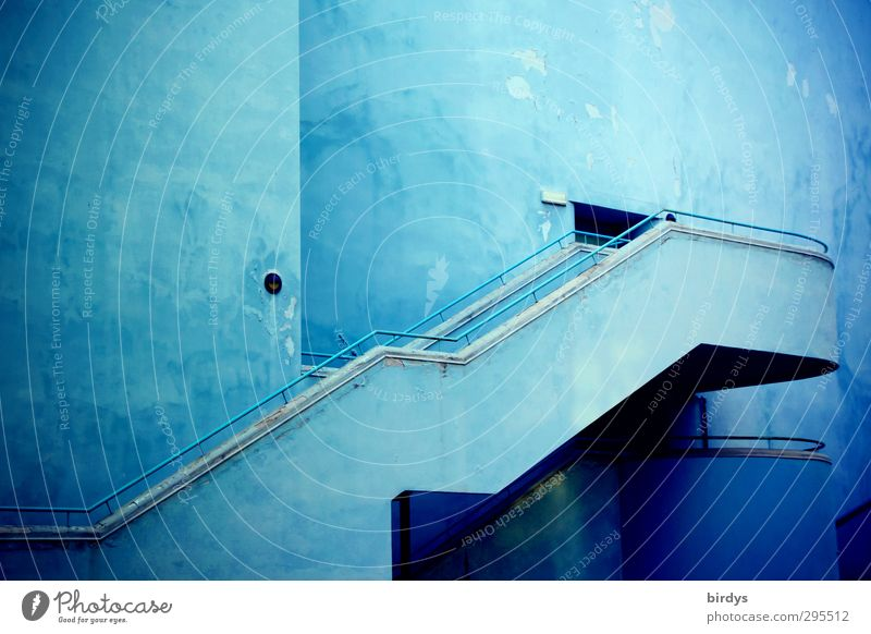 Stairs to the blue Living or residing House (Residential Structure) Architecture Esthetic Positive Town Blue Dream Contentment Elegant Success Colour Creativity
