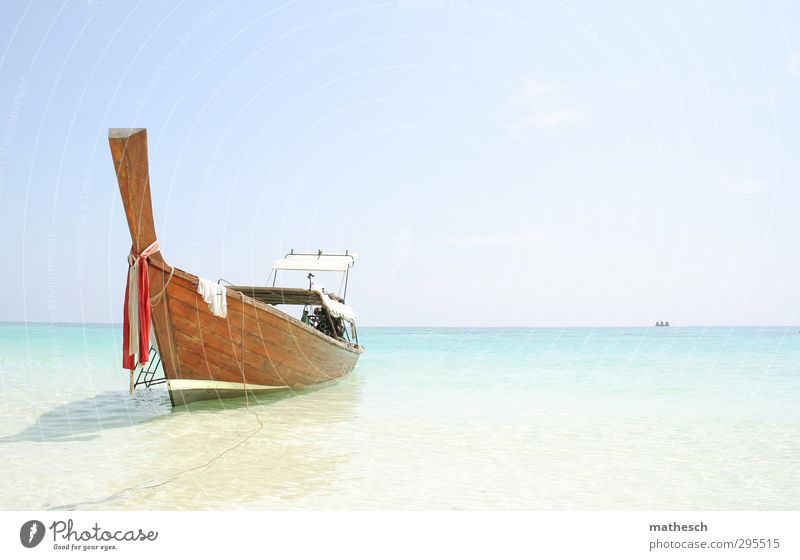 boat Harmonious Well-being Relaxation Calm Swimming & Bathing Vacation & Travel Tourism Trip Cruise Summer Summer vacation Beach Ocean Island Waves Sand Air