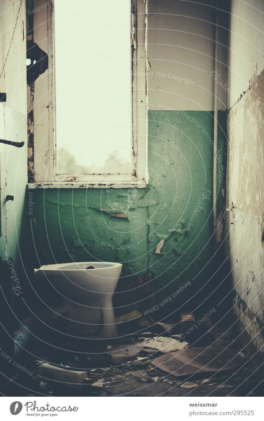 quiet place Small Town Outskirts Deserted House (Residential Structure) Manmade structures Building Window Toilet Old Dirty Historic Moody Loneliness