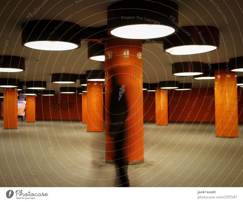 Underground incognito Tunnel Architecture Underpass Modern Retro Orange Emotions Movement Identity Lanes & trails Seventies Tile Skylight Ghostly Anonymous