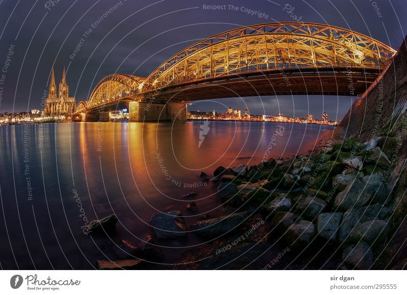DOM times different Night life Water Night sky Winter River bank Cologne Cathedral Town Old town Skyline Overpopulated House (Residential Structure) Church Dome