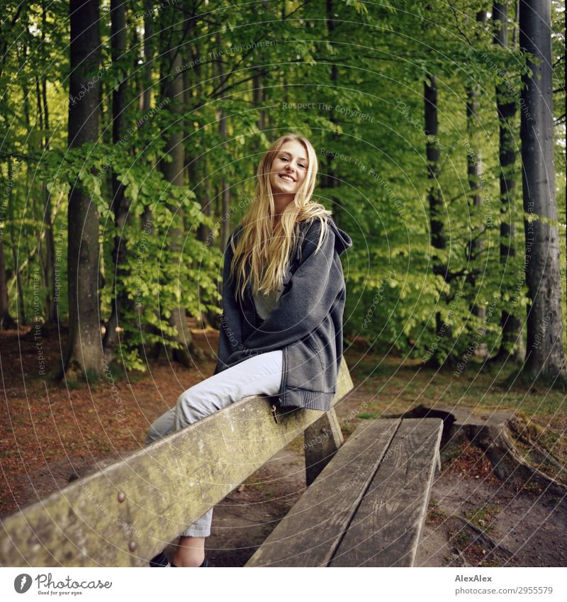 Young woman sitting on a bench in a forest Style Joy Beautiful Life Harmonious Youth (Young adults) 18 - 30 years Adults Nature Landscape Beautiful weather