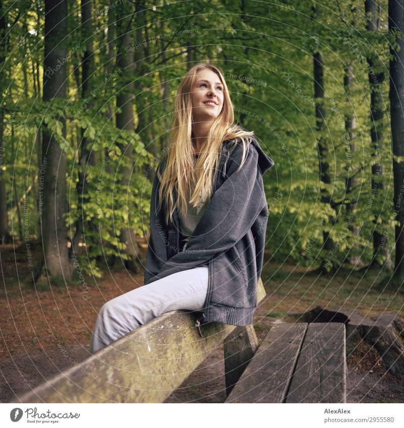 Young woman sitting on a bench in a forest Beautiful Wellness Life Trip Youth (Young adults) 18 - 30 years Adults Nature Landscape Spring Summer