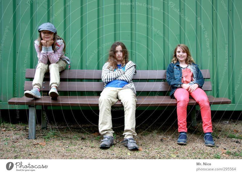 Human being Child Girl Joy Feminine Fashion Friendship Infancy Facade Blonde Sit Wait Cool (slang) Posture Cap 8 - 13 years