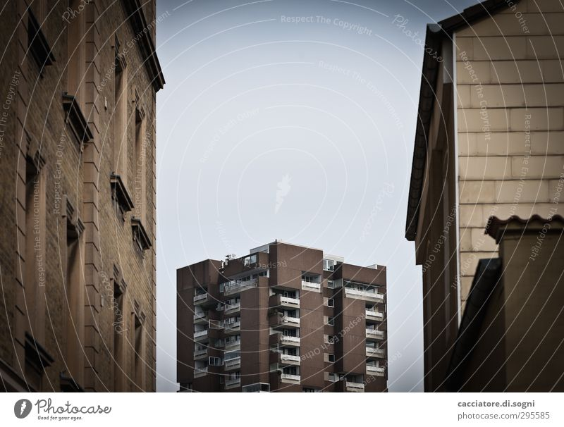 Sky Blue City Loneliness House (Residential Structure) Far-off places Dark Cold Sadness Brown Facade High-rise Living or residing Future Gloomy Threat