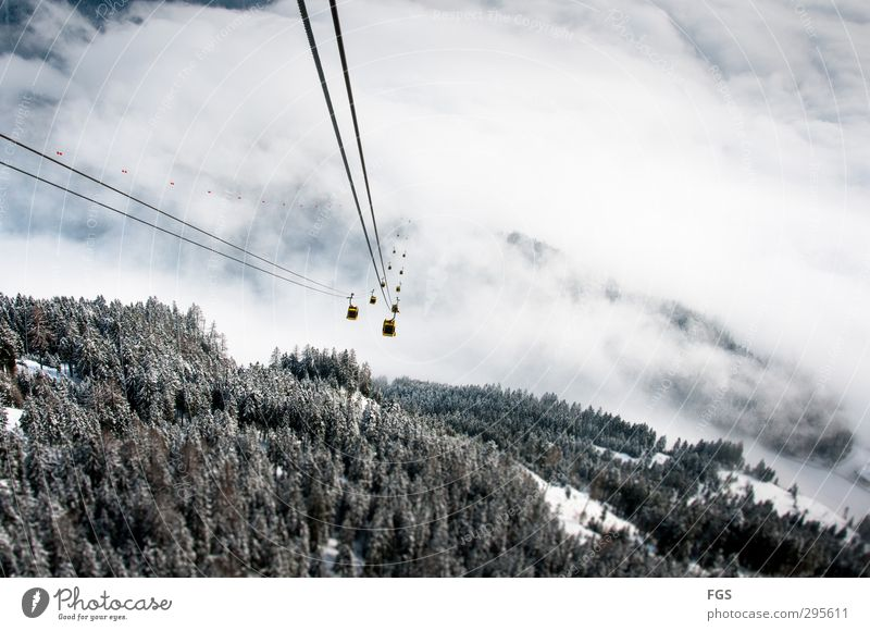 Gondola trip to Nirvana Clouds Winter Beautiful weather Ice Frost Snow Mountain Cable car Sports Esthetic Uniqueness Downward slide Cloud cover Colour photo