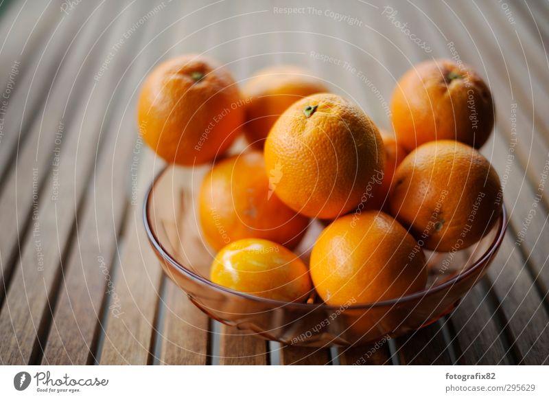false orange Bowl Wood Healthy Orange Table Fruit Tropical fruits Citrus fruits Colour photo Copy Space left Copy Space top Shallow depth of field
