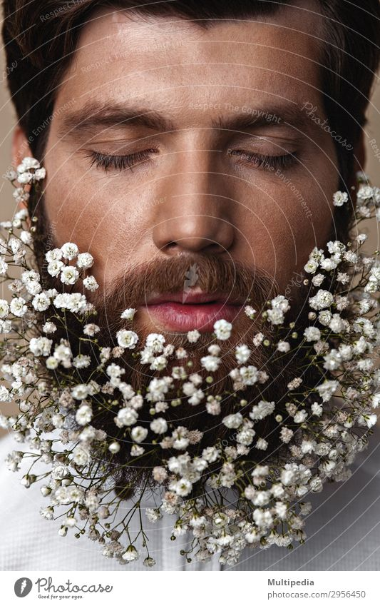 Men With Flowers In Their Beards Lifestyle Elegant Style Design Face Human being Man Adults Spring Fashion Growth Cool (slang) Eroticism Hip & trendy Funny Cute