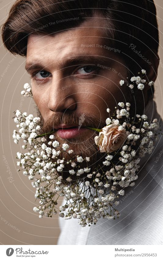 Men With Flowers In Their Beards Human being Man White Eroticism Face Lifestyle Adults Spring Funny Style Fashion Design Growth Elegant Creativity