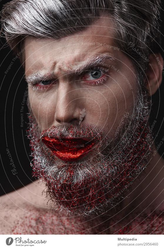 Glamour man with red lips and tongue Lifestyle Elegant Style Design Face Human being Man Adults Fashion Beard Cool (slang) Eroticism Hip & trendy Funny White