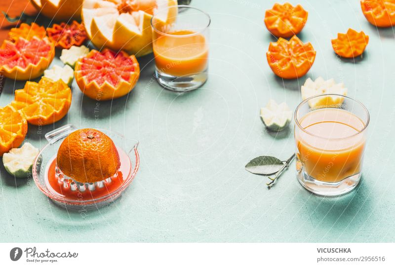 Juice of various citrus fruits Food Fruit Orange Nutrition Organic produce Beverage Crockery Glass Style Design Healthy Healthy Eating Summer Table Yellow