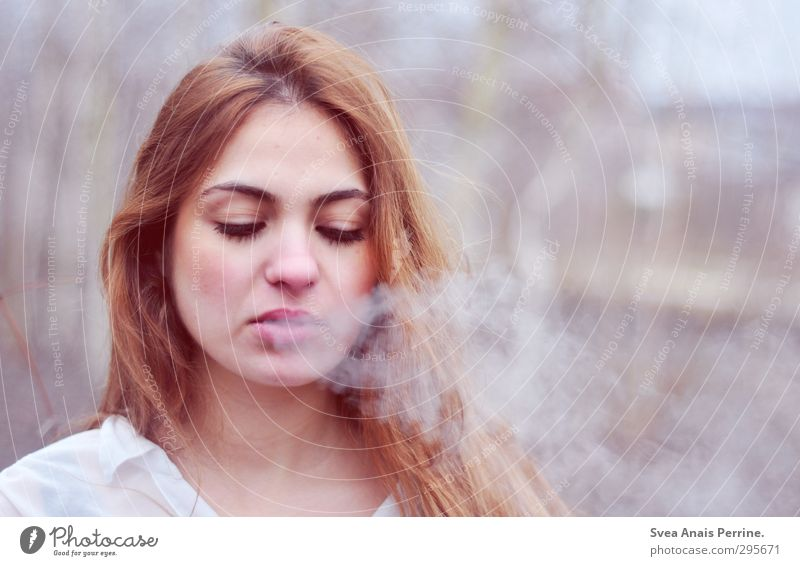 woman smokes. Feminine Young woman Youth (Young adults) Hair and hairstyles Face 1 Human being 18 - 30 years Adults Environment Nature Observe Beautiful