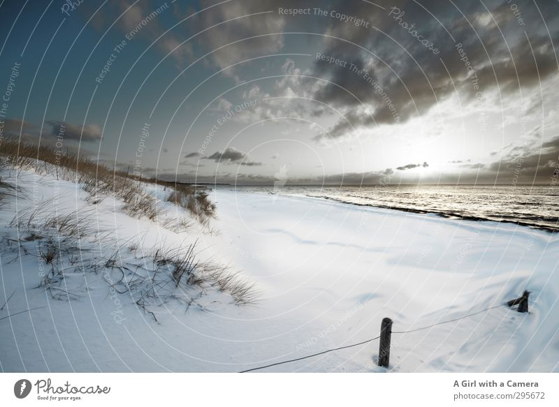 winter beach Environment Landscape Sky Clouds Winter Climate Climate change Weather Snow Coast Baltic Sea Western Beach Exceptional Cold Natural White Calm