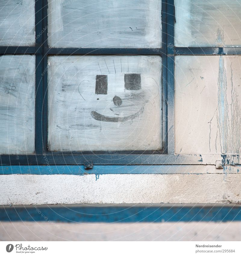 Blue White Colour Window Graffiti Wall (building) Wall (barrier) Happy Metal Facade Dirty Glass Lifestyle Living or residing Cool (slang) Sign