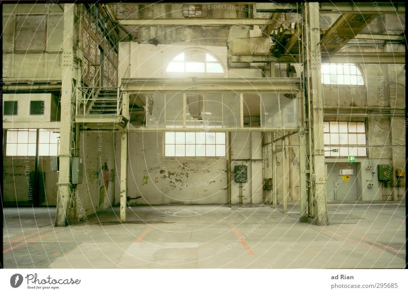 industrial romance Old town Deserted Industrial plant Factory Ruin Manmade structures Building Architecture Wall (barrier) Wall (building) Stairs Facade Door