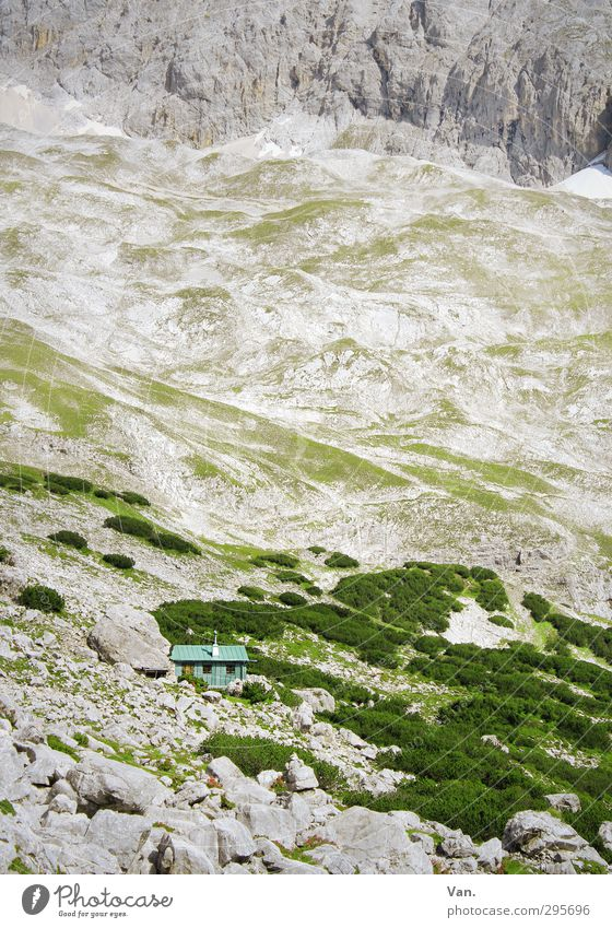 Inconspicuous Vacation & Travel Mountain Hiking Bushes Rock Alps Hut Gray Green Stone Colour photo Subdued colour Exterior shot Deserted Day Contrast