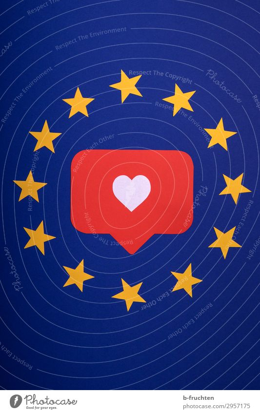 Blue Red Yellow To talk Love Happy Free Europe Heart Success Future Star (Symbol) Paper Sign Protection Safety